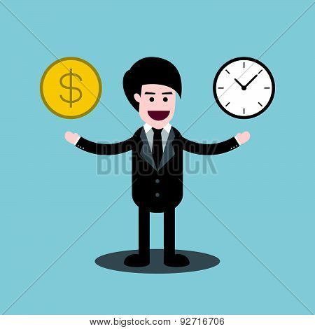 Time And Money Coin On Hands Of Businessman