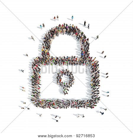 people in the shape of lock.