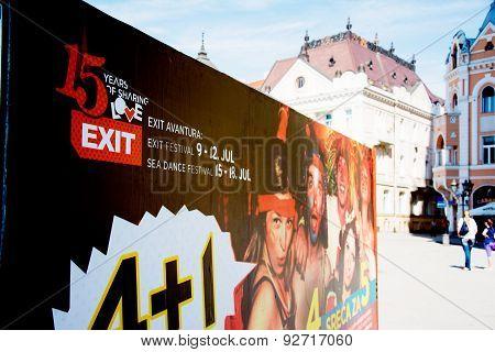 Bilboard Of Exit Festival 2015 In City Center Of Novi Sad