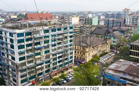 Many Old Buildings At Yangon Downtown