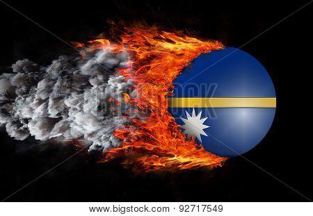 Flag With A Trail Of Fire And Smoke - Nauru