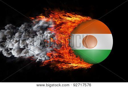 Flag With A Trail Of Fire And Smoke - Niger