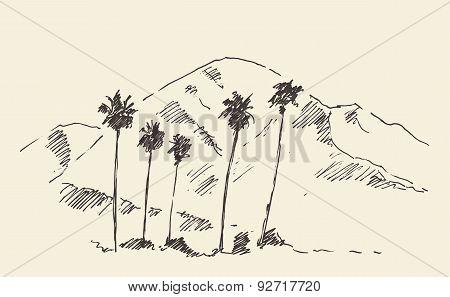 Palms, California, Skyline Engraved Sketch