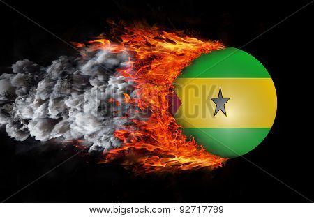 Flag With A Trail Of Fire And Smoke - Sao Tome And Principe