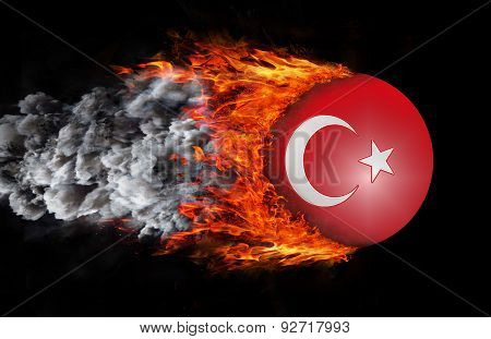 Flag With A Trail Of Fire And Smoke - Turkey