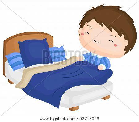 Boy Folding Blanket