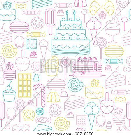 Sweets icons outline style seamless background.