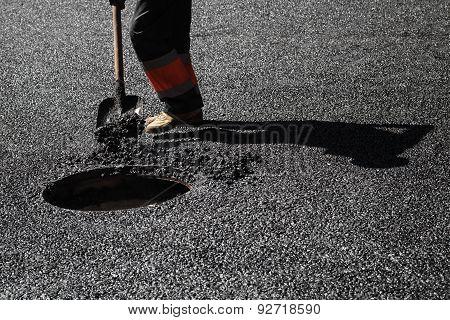 Urban Road Under Construction, Asphalting In Progress