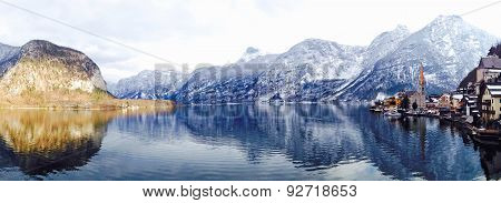 Panorama Of Hallstatt Lake And Snow Mountain