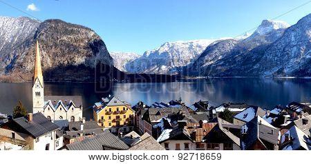 Panorama Of Hallstatt Old Town City And Lake