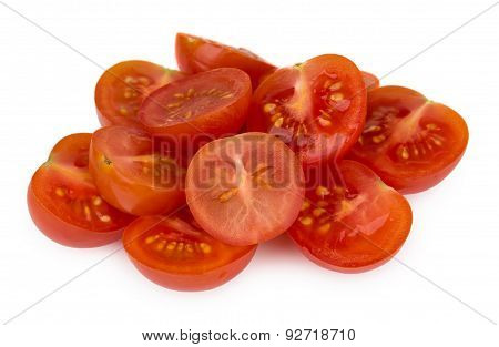Heap Of Halved Cherry Tomatoes Isolated On White
