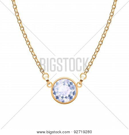 Golden chain necklace with round diamond pendant.