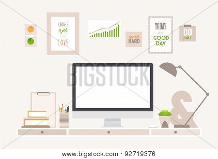 Table Flat Vector Business Office and Workspace