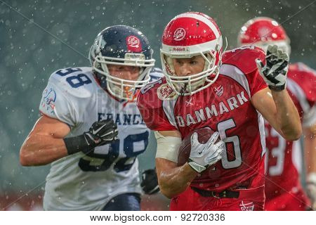 GRAZ, AUSTRIA - JUNE 2, 2014: RB Joachim Christian Hannesbo (#26 Denmark) runs with the ball.