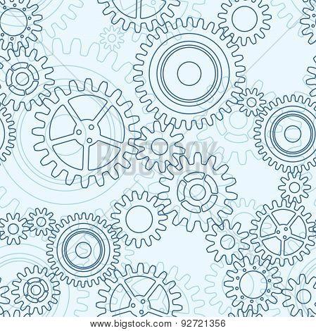 Seamless Pattern Of Gear Wheels