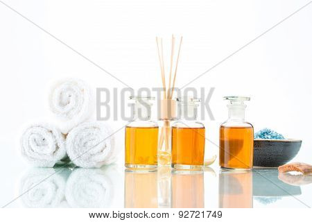 Spa Concept With Aromatherapy, Essential Oil, And Salt
