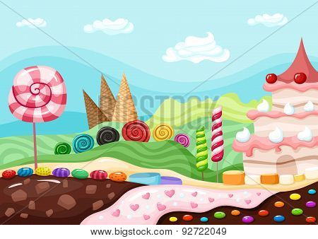 Sweets landscape vector