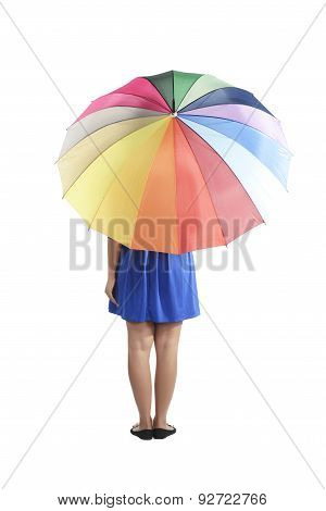 Backview Of Woman Holding Colorful Umbrella
