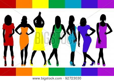 Women Silhouettes With Rainbow Color Dresses