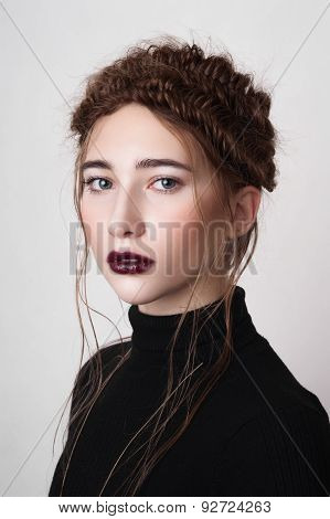 Beauty Model With Dark Red Lips