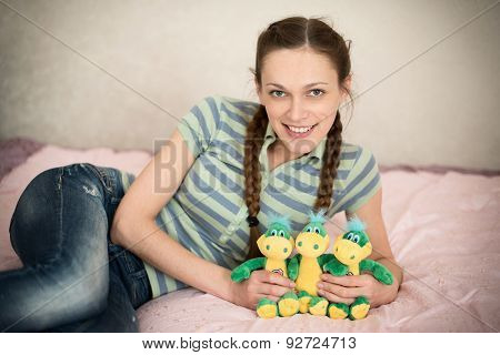 Cute Young Woman With Stuffed Toys