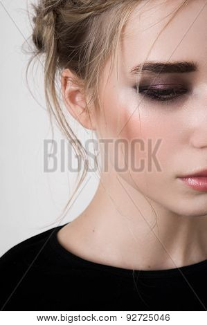Half Face Of Beauty Model With Smoky Eyes