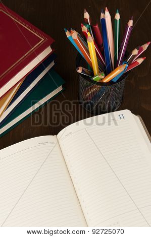 Diary And Pencils