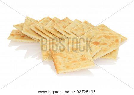closeup salted crackers