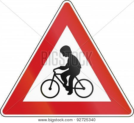 Cyclists Crossing In The Czech Republic