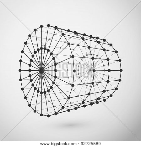 Wireframe cylinder polygonal element