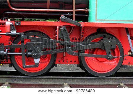 Iron Wheel Of An Old Steam Locomotive
