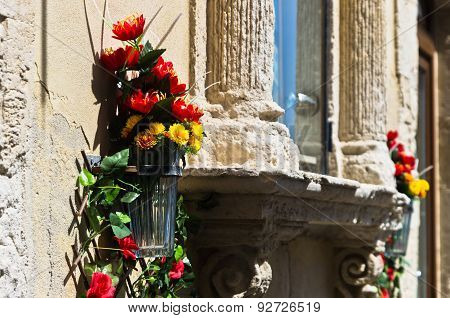 Flowers and stone,detail from street of Ortigia, Syracuse, Sicily