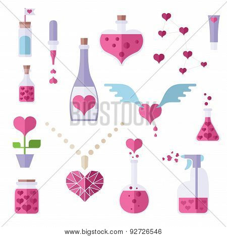 Flat Icons Of Love Chemistry Theme