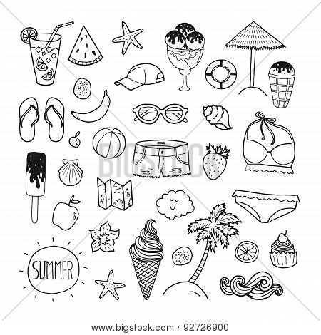 Vector summer hand drawn collection
