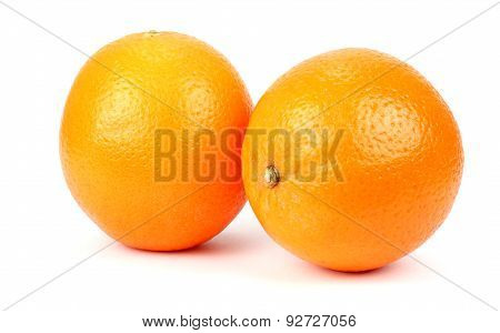 Two Ripe Oranges On A White Background