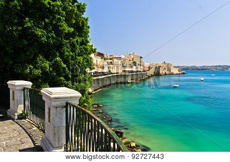 Coast of Ortigia island at city of Syracuse, Sicily