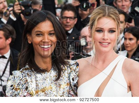 Doutzen Kroes, Liya Kebede attend the opening ceremony and premiere of La Tete Haute ( Standing Tall ) during the 68th annual Cannes Film Festival on May 13, 2015 in Cannes, France.