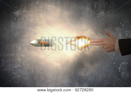 Hand Of Gun Gesture With Firelight Shooting Dollar Sign Bullet