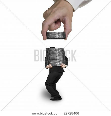 Man Carrying Concrete Blocks With Hand Stacking Isolated On White
