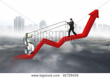 Business Man Pulling 3D Dollar Sign Upward Red Trend Line
