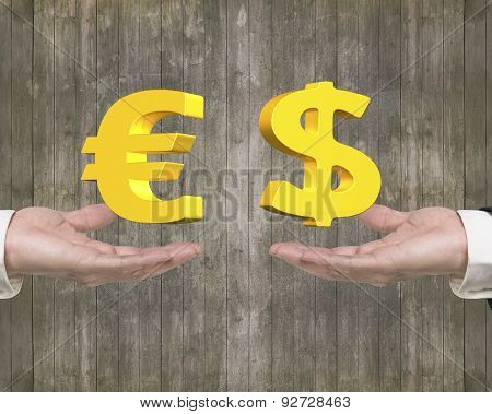 Euro Symbol Dollar Sign On Hands Foreign Exchange Concepts