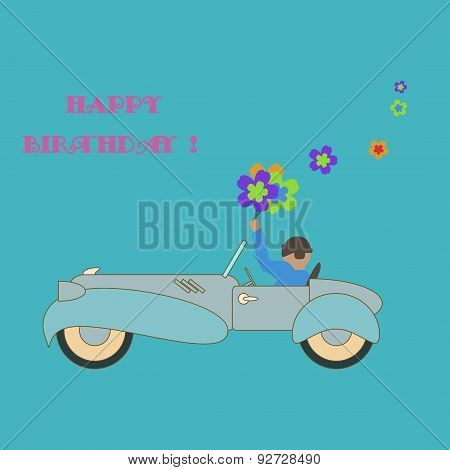 Happy birthday card. Vintage style greeting card design template.