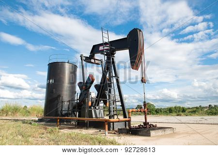 Pumpjack Pumping Crude Oil
