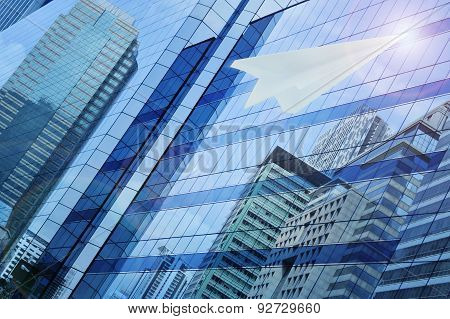Airplane Paper Flying On Window Tower, Leader Business Concept