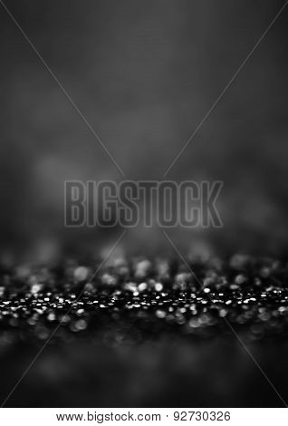 ..black Defocused Bokeh Twinkling Lights Vintage Background. Festive Christmas Elegant Abstract Back