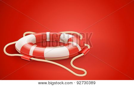 Life buoy for drowning rescue and help support on red background. Vector Illustration.