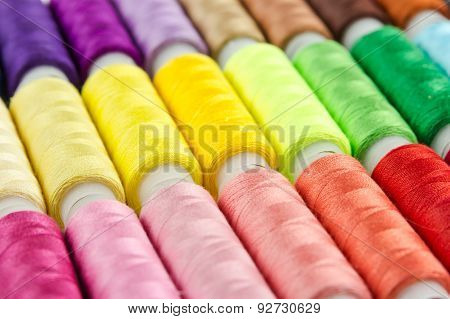Bobbins With Multicolored Thread For Sewing
