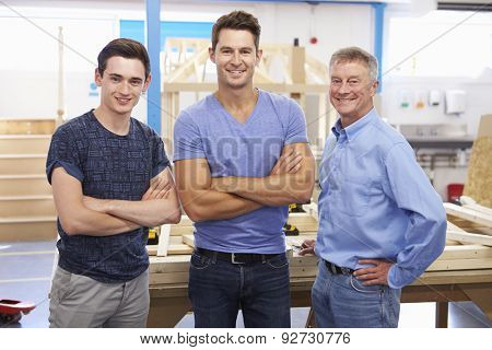 Student And Teacher In Carpentry Class