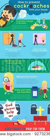How To Prevent Cockroaches From Your House Cartoon Infographic Template Design With Sample Text Layo