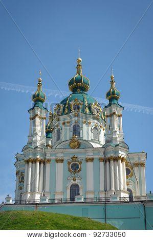 The Famous Ukrainian Autocephalous Orthodox Saint Andrew's Church (andreevskaya). Kyiv, Ukraine
